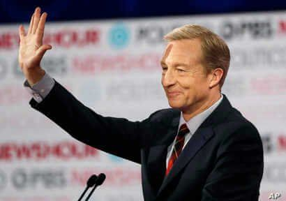 FILE - In this Dec. 19, 2019, file photo, Democratic presidential candidate businessman Tom Steyer waves before a Democratic…