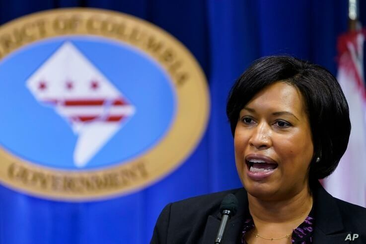 FILE - In this Wednesday, Nov. 4, 2020, file photo, District of Columbia Mayor Muriel Bowser speaks during a news conference in…