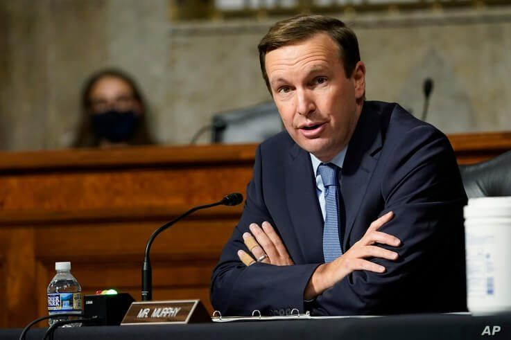 Sen. Chris Murphy, D-Conn., speaks during a Senate Foreign Relations Committee hearing on Capitol Hill in Washington, Thursday,…