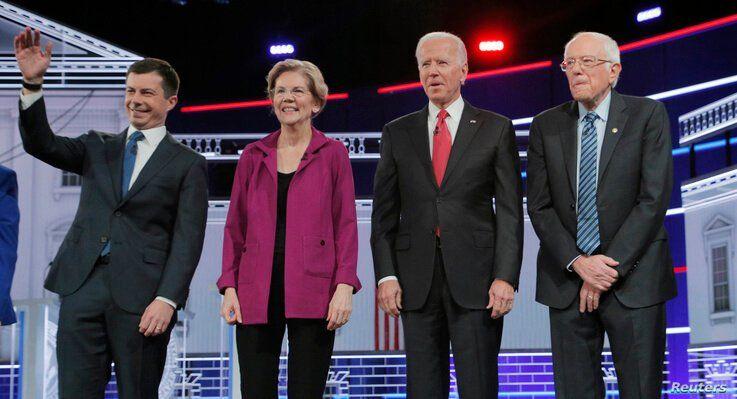 Democratic U.S. presidential candidates South Bend Mayor Pete Buttigieg, Senator Elizabeth Warren, former Vice President Joe…