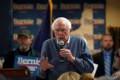 Democratic presidential candidate Sen. Bernie Sanders, I-Vt., speaks during a campaign stop, Sunday, Nov. 24, 2019, in…