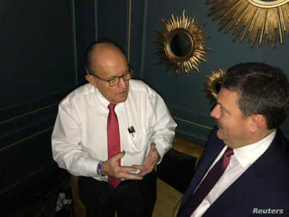 Ukrainian lawmaker Andriy Derkach attends a meeting with U.S. President Donald Trump's personal lawyer Rudolph Giuliani in Kyiv, in this undated picture obtained from social media.