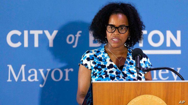 FILE— In this Aug. 12, 2021 file photography, Boston's acting Mayor Kim Janey speaks during a news conference at City Hall in…