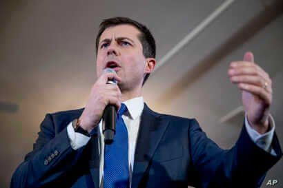 Democratic presidential candidate former South Bend, Ind., Mayor Pete Buttigieg speaks at a campaign stop at the Merrimack…