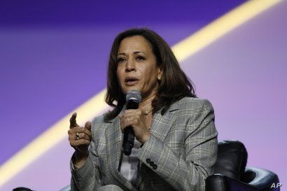 Democratic presidential candidate, Sen. Kamala Harris, D-Calif., speaks during a candidates forum at the 110th NAACP National Convention, July 24, 2019, in Detroit.