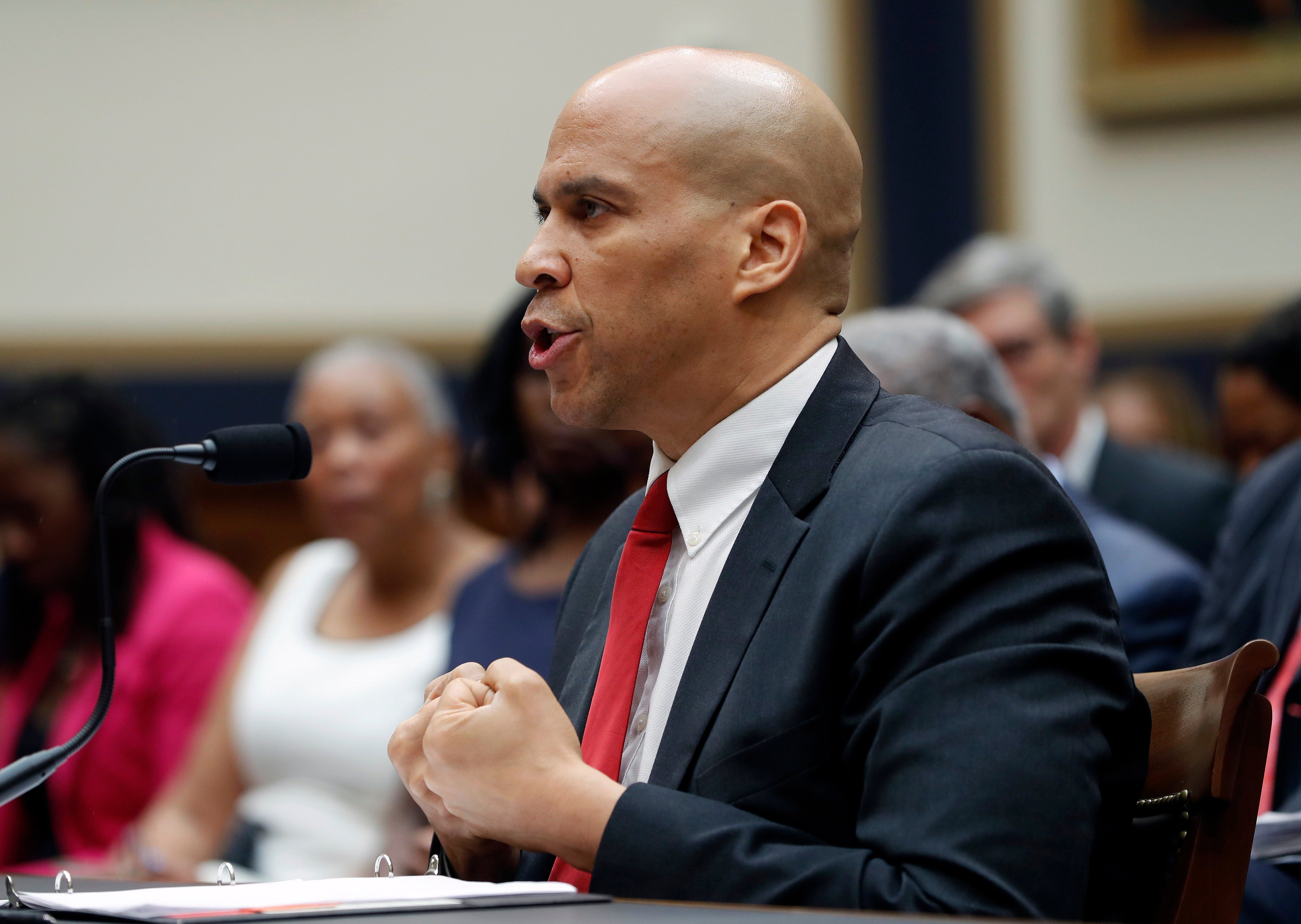 Democratic Presidential candidate Sen. Cory Booker, D-N.J., testifies about reparation for the descendants of slaves during a hearing before the House Judiciary Subcommittee on the Constitution, Civil Rights and Civil Liberties, at the Capitol in…