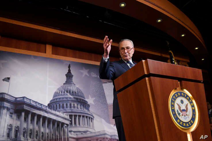 Senate Minority Leader Sen. Chuck Schumer of N.Y., speaks during a news conference on Capitol Hill in Washington, Wednesday,…