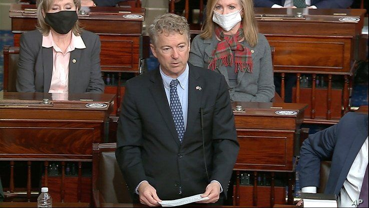 In this image from video, Sen. Rand Paul, R-Ky., makes a motion that the impeachment trial against former President Donald…