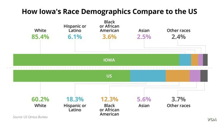 Iowa Caucus - Demographics - Race - Iowa vs US