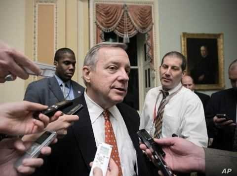Assistant Majority Leader Sen. Dick Durbin, D-Ill., speaks with reporters in Washington. (File Photo)