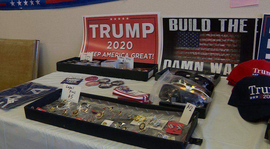 Trump memorabilia for sale at the Republican Party Headquarters of Seminole County, FL. (VOA video grab)