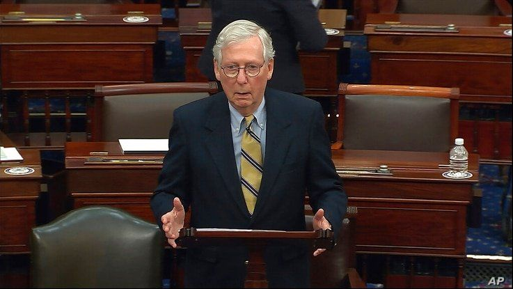 In this image from video, Senate Minority Leader Mitch McConnell of Ky., speaks after the Senate acquitted former President…