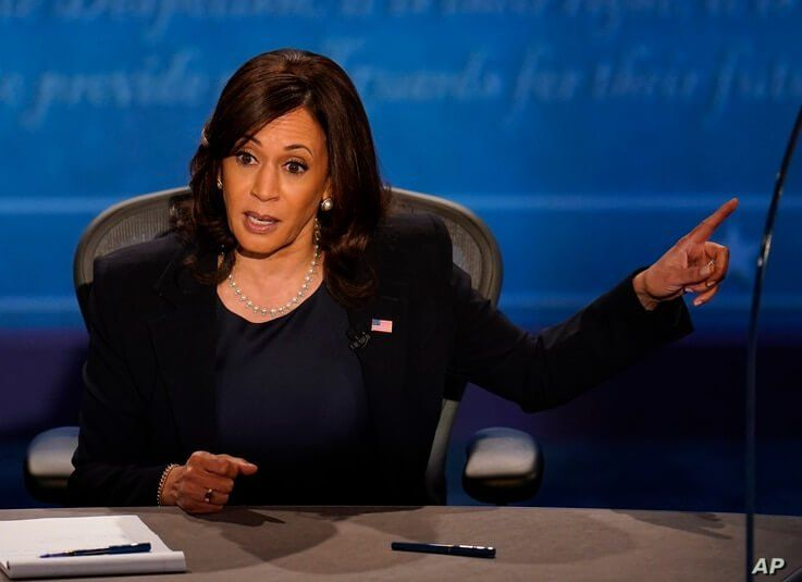 Democratic vice presidential candidate Sen. Kamala Harris, D-Calif., responds to Vice President Mike Pence during the vice…