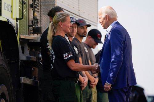 Out West, Biden Points to Wildfires to Push for Climate Change Spending
