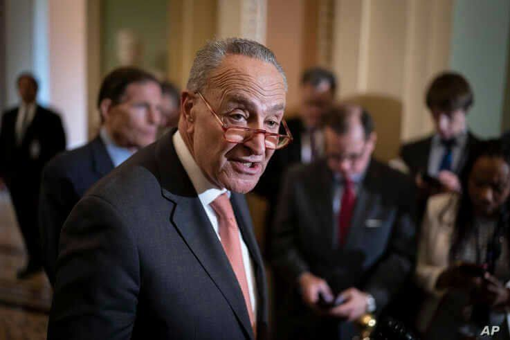 Senate Minority Leader Chuck Schumer, D-N.Y., talks to reporters following a Democratic strategy meeting at the Capitol in Washington, Feb. 11, 2020.