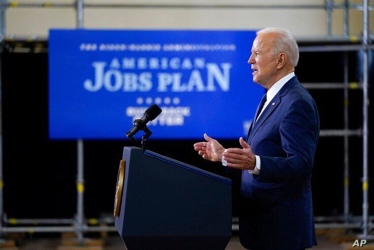 President Joe Biden delivers a speech on infrastructure spending at Carpenters Pittsburgh Training Center, Wednesday, March 31,…