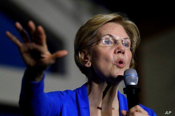 FILE - In this Nov. 11, 2019 file photo, Democratic presidential candidate Sen. Elizabeth Warren, D-Mass., addresses an…