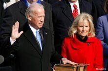 FILE - U.S. Vice President Joe Biden is sworn in as his wife Jill Biden watches during the inauguration of President Barack Obama in Washington, Jan. 20, 2009.