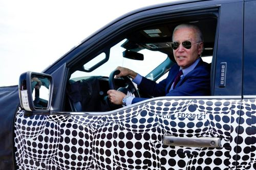 Biden Test-Drives New Truck to Promote Electric Vehicles