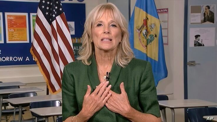 In this image from video, Jill Biden, wife of Democratic presidential candidate former Vice President Joe Biden, speaks during…