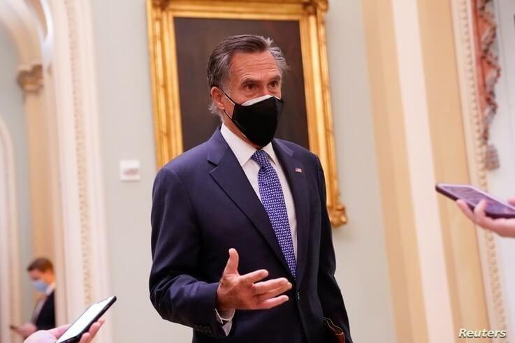 U.S. Sen. Mitt Romney (R-UT) speaks to reporters in the U.S. Capitol in Washington, U.S., Dec. 16, 2020.