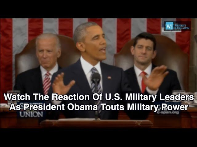Watch The Reaction Of U.S. Military Leaders As President Obama Touts Military Power