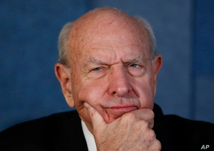 Thomas Pickering, co-chair of the International Crisis Group and former U.S. Ambassador to the United Nations, pauses during a…