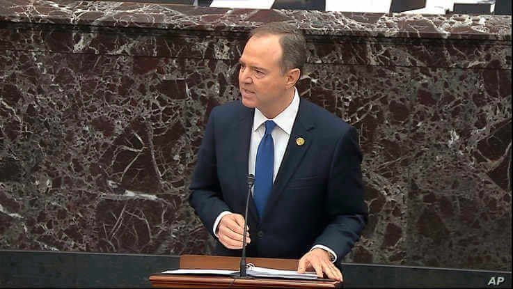 In this image from video, House impeachment manager Rep. Adam Schiff, D-Calif., speaks during closing arguments in the…