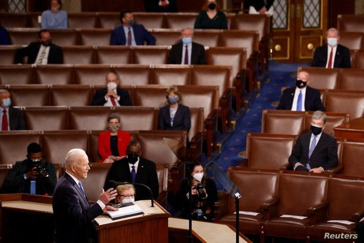 U.S. President Joe Biden delivers his first address to a joint session of the U.S. Congress at the U.S. Capitol in Washington