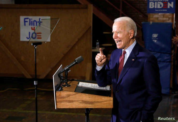 Democratic U.S. presidential candidate and former Vice President Joe Biden speaks during a campaign stop in Flint, Michigan, March 9, 2020.