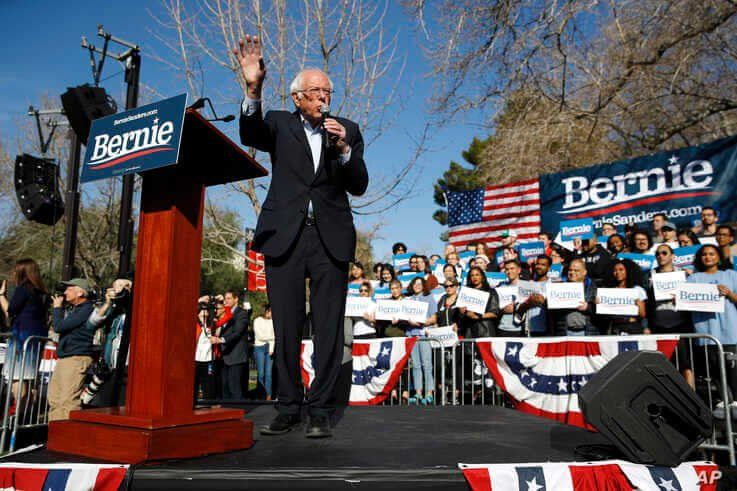Democratic presidential candidate Sen. Bernie Sanders, I-Vt., speaks during a campaign event at the University of Nevada.