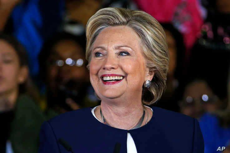 FILE - Democratic presidential candidate Hillary Clinton makes remarks at a Pennsylvania Democrats Pittsburgh Organizing Event at Heinz Field in Pittsburgh, Nov. 4, 2016.