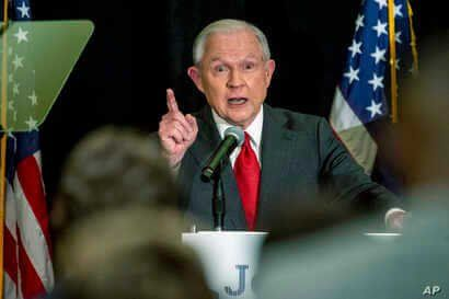 Jeff Sessions addresses the crowd at his watch party following Alabama's state primary, Tuesday, March 3, 2020, in Mobile, Ala…