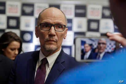 Democratic National Committee chairman Tom Perez is recorded on a phone before a Democratic presidential primary debate…