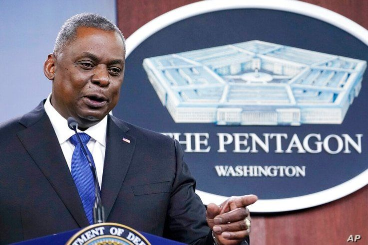 Defense Secretary Lloyd Austin speaks during a briefing at the Pentagon in Washington, Thursday, May 6, 2021. (AP Photo/Susan…
