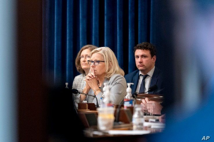 Rep. Liz Cheney, R-Wyo., appears during a meeting as the select committee on the Jan. 6 attack prepares to hold its first…
