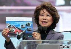FILE - U.S. Secretary of Transportation Elaine Chao speaks ahead of Press Days of the North American International Auto Show at Cobo Center in Detroit, Michigan, Jan. 14, 2018.