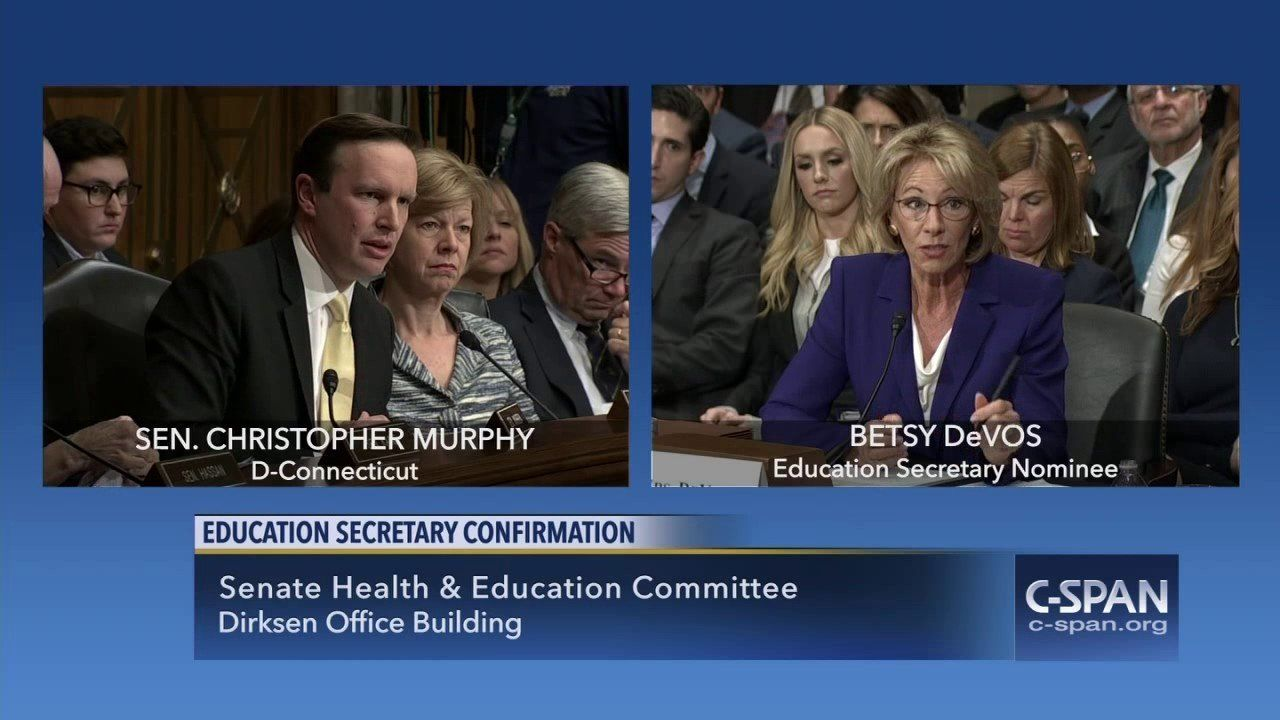 Sen. Chris Murphy (D-CT) asks Betsy DeVos about guns in schools (C-SPAN)
