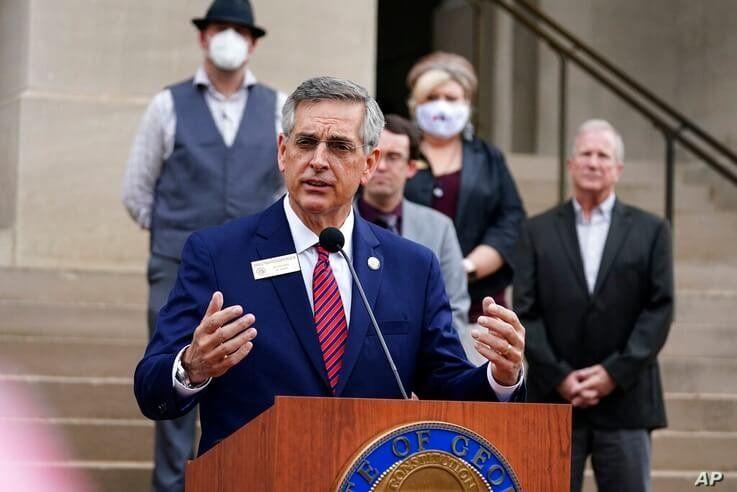 Georgia Secretary of State Brad Raffensperger speaks during a news conference on Wednesday, Nov. 11, 2020, in Atlanta. Georgia…