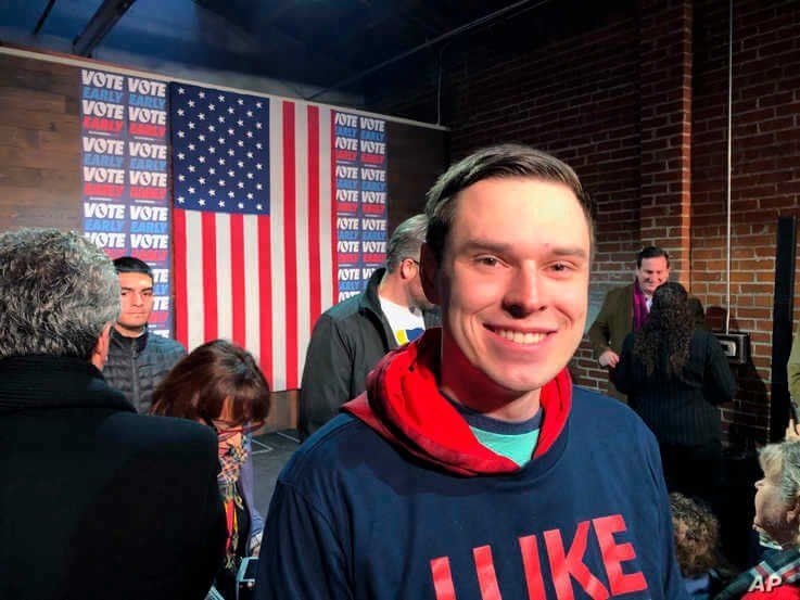 College student Myles Hammond, 22, attends a Mike Bloomberg event, Monday, Feb. 3, 2020 in Sacramento, Calif.  On the day the…