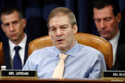 Rep. Jim Jordan. R-Ohio., votes no on the second article of impeachment against President Donald Trump during a House Judiciary…