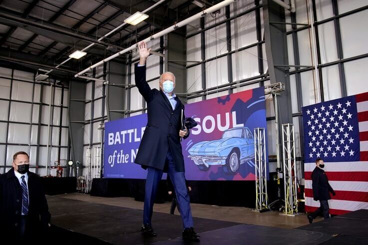 Democratic presidential candidate former Vice President Joe Biden waves after speaking at a rally at Cleveland Burke Lakefront…
