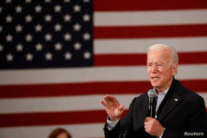 Democratic 2020 U.S. presidential candidate and former U.S. Vice President Joe Biden speaks during a town hall meeting, during his