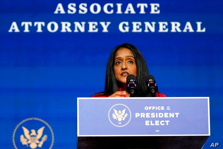 Associate Attorney General nominee Vanita Gupta speaks during an event with President-elect Joe Biden and Vice President-elect…