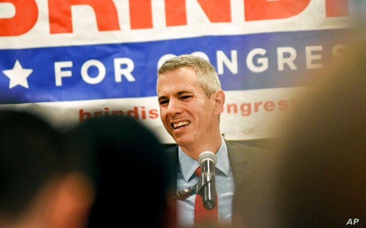 FILE - In this Nov. 6, 2018 file photo, Anthony Brindisi speaks to supporters on election night at the Delta Hotel in Utica, N…
