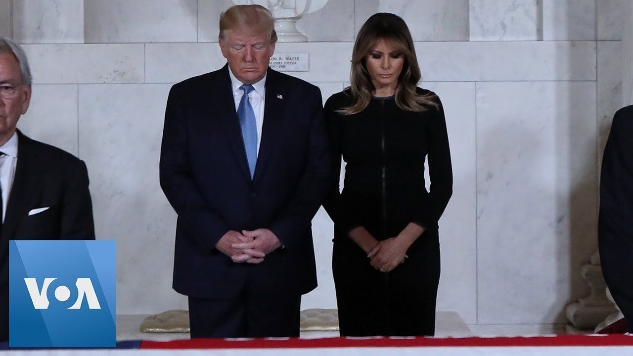 US President Donald Trump, First Lady Melania Pay Respects to Justice John Paul Stevens