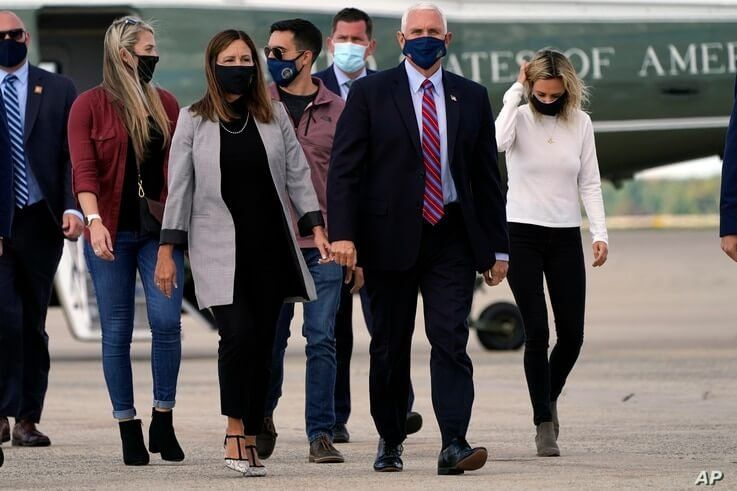 Vice President Mike Pence and his wife Karen, along with Sarah Pence and her husband Michael Pence and daughter Charlotte Pence…