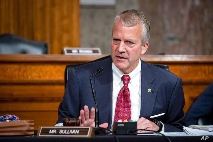 FILE - In this May 7, 2020, file photo, Sen. Dan Sullivan, R-Alaska, testifies during a hearing on Capitol Hill in Washington…