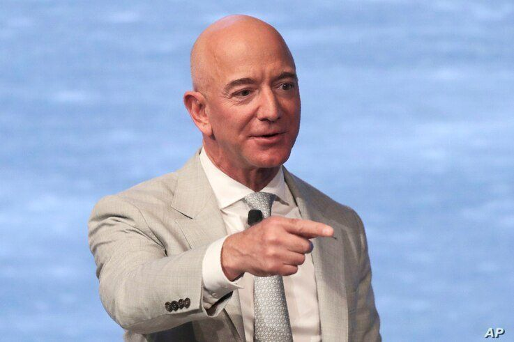 FILE - In this June 19, 2019, file photo, Amazon founder Jeff Bezos speaks during the JFK Space Summit at the John F. Kennedy…