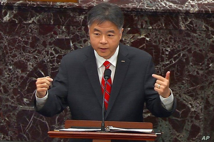 In this image from video, House impeachment manager Rep. Ted Lieu, D-Calif., speaks during the second impeachment trial of…